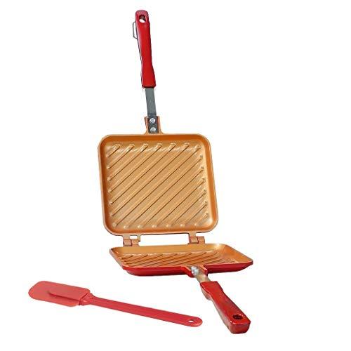 Flip Grill + Spatule en Silicone – Poêle 16x15cm Tous Feux Dont Induction pour Toaster, Griller et rôtir en Un Tour de Main
