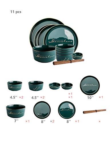 Ronde keramische plaat-tafelgerei Set- Keramiek - keramische plaat Family Dinner Plate (Size : 11 PCS)