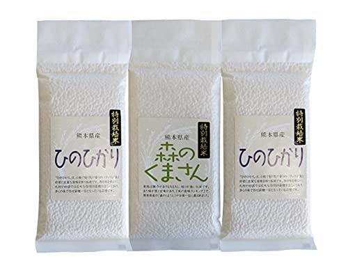 熊本県産 特別栽培米 白米 ヒノヒカリ300g×2+森のくまさん300g 真空パック お試しセット 御船共栄