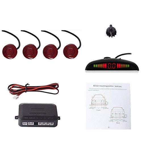 CoCar Auto Rückfahrwarner Einparkhilfe 4 Sensoren Einparkassistent Einparksystem PDC + LED Anzeigen + Akustische Warnung - Tiefrot