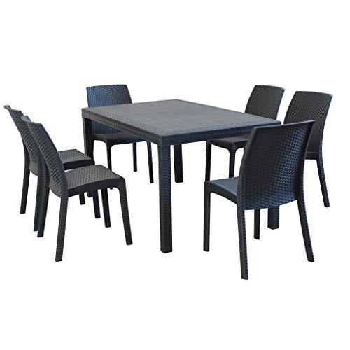 MilaniHome Set Tavolo da Giardino Rettangolare Fisso Cm 150 X 90 con 6 Sedie in Wicker Stampato Antracite da Esterno Giardino