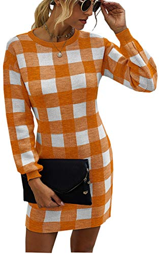 Theenkoln Women's Plaid Pencil Dresses Crew Neck Long Sleeve Wear to Work Casual Bodycon Business Mini Dress Orange White L