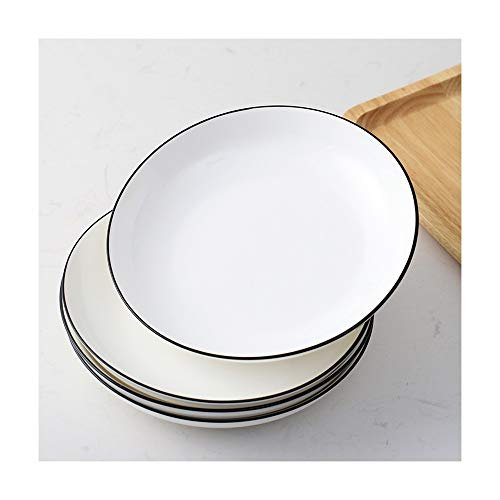 ZLSP Placa redonda Conjunto de combinación, mujeres Comida plato de carne occidental vajilla de cerámica ZLSP (Color : 7 inches four)