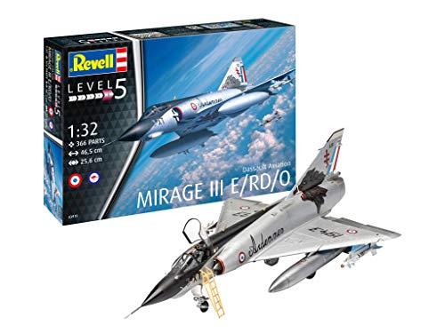 Revell Modellbausatz Dassault Aviation Mirage III E/RD/O, Flugzeug im Maßstab 1:32, Level 5, orginalgetreue Nachbildung mit vielen Details, 03919