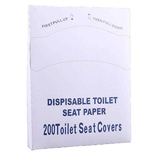 Coprisedili per WC usa e getta, 200 pezzi (1 confezioni da 200), paravento di carta semi-piegato per dispenser standard, lavabile per servizi igienici pubblici, viaggi, bambini e adulti