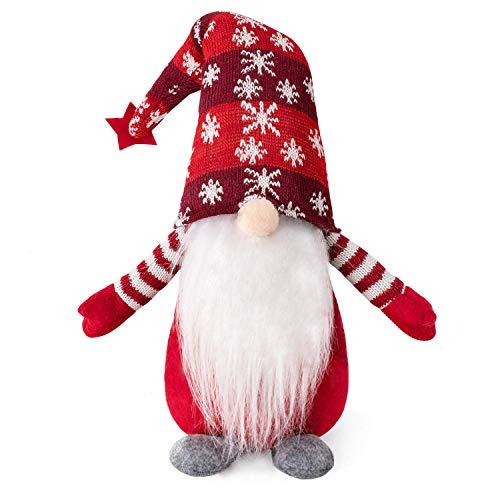 HabiLife Handmade Swedish Tomte Gnomes, Christmas Gnome Decorations Santa Figurines Elf Plush Doll Xmas Home Table Ornaments Kids Birthday Present - 19 Inches Red Stripe