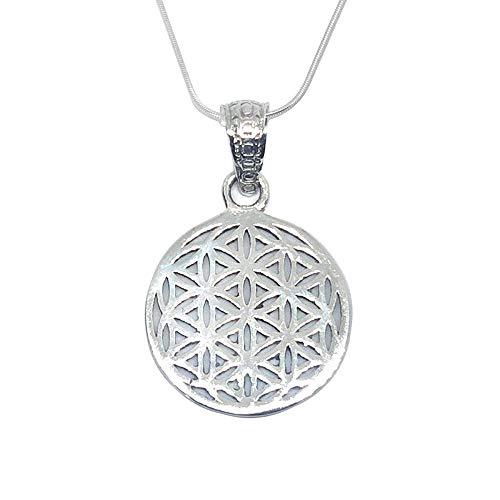 Collar de plata de ley 925 con colgante espiritual de la flor de la vida, de geometría sagrada para hombres y mujeres, en caja de regalo (plata de ley 925, flor de la vida, pequeña)