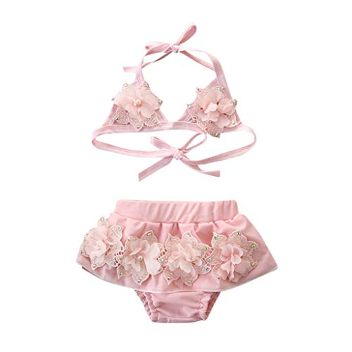 HEETEY Girls Swimming Costume, Summer Toddler Kids Baby Girls 3D Flower Halter Lace Up Swimsuit Bowknot Flower Swimwear Swimsuit Bikini Outfits Swimming Costume Pink