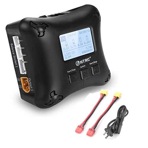 RUIZHI Caricabatterie LiPo H4AC Duo Caricabatterie LiPo Mini Caricabatterie RC Doppia Porta 20Wx2 2Ax2 per batterie LiPo 2S 3S 4S