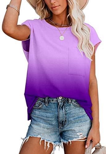 Ancapelion Damen Casual T-Shirt Kurzarm Sommer Tops Lose Oberteile Rundhals Basic Bluse mit Tasche (Farbverlauf Lila, XXL)