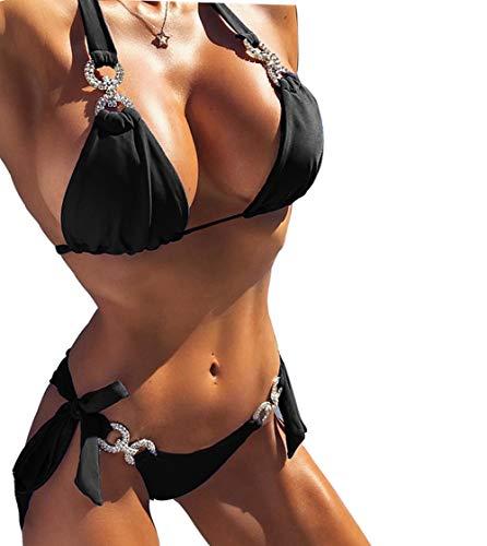 YAUASOPA Women 2PCS Shiny Diamond Bikini Set Tankini Sexy Bra Swimsuit Praty Bathing Suit (US 2-4(S), Black)
