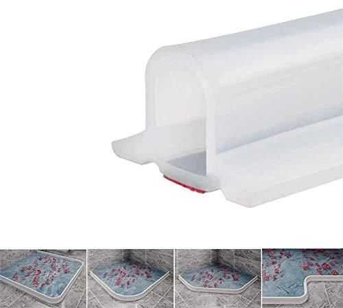 Zusammenklappbarer Duschschwellen-Wasserdamm, ideal für rollstuhlgerechte, barrierefreie Duschen, Dusche Bad Boden Dichtung Wasserdamm Duschschwelle Barriere-Wasserstopper (Transparent,130 cm)