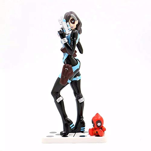 WAHE Anime Character Statue X-Men Female Death Service Domino Boxed Decoration Statue, Hand-Made Model Gift Decoration Desktop Decoration PVC Material Toy Statue Height About 20cm