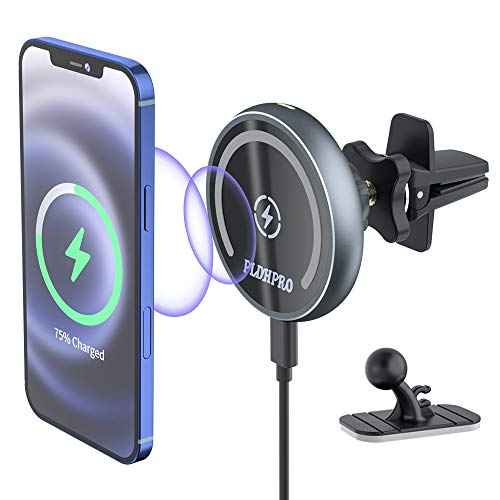 PLDHPRO Magnetic Wireless Car Charger, 15W Qi Fast Car Charger Mount 360° Rotation Air Vent Phone Holder Compatible with iPhone 12/12 Mini/12 Pro/12 Pro Max