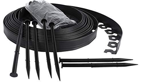 Bordure de Jardin Flexible, Bordure de pelouse Douce, Bordure de Jardin en Plastique - 4cm de Haut - Noir 10 mètres + 30 Clous de Fixation