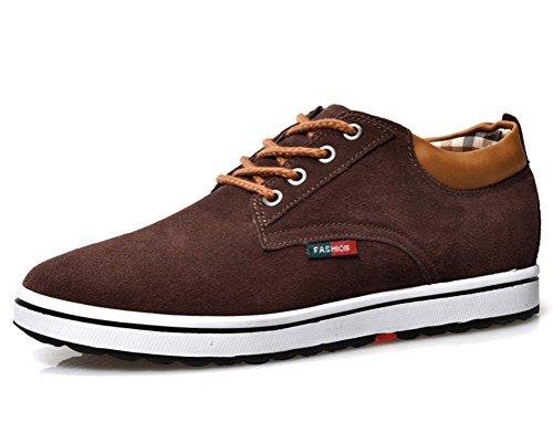 Zapatillas de Hombres de Cuero de Ante de Cuero Genuino para Hombres Aumento de la Altura de Zapatos para Hombre