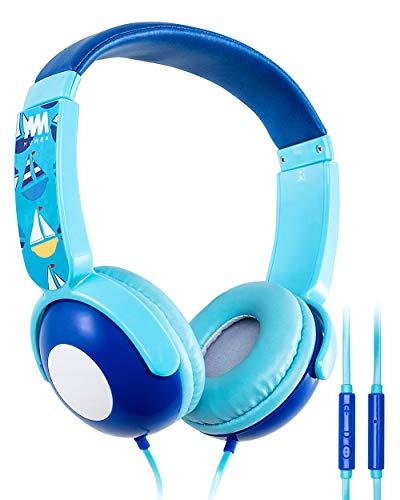 Kids Headphones, Mumba Volume Limited Over Ear Headphones, 85 Safe Listening Adjustable Headsets with Microphone for Kids Children (Blue)