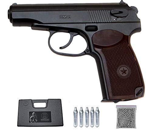 PM49 Borner Pack Pistola de balines (perdigones Bolas de Acero BB's). Arma de Aire comprimido CO2 4,5mm. Réplica Makarov. Potencia: 2.87 Julios.