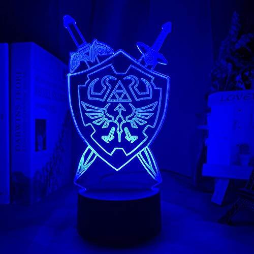 Lámpara de ilusión 3D La leyenda de Zelda Espada y escudo vinculados Atmósfera de siete colores Regalo decorativo de Navidad Dormitorio de bebé Decoración de la cabecera Luz-16 color remote co