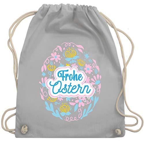 Shirtracer Ostern Kinder - Frohe Ostern - Ei - Unisize - Hellgrau - Geschenk - WM110 - Turnbeutel und Stoffbeutel aus Baumwolle
