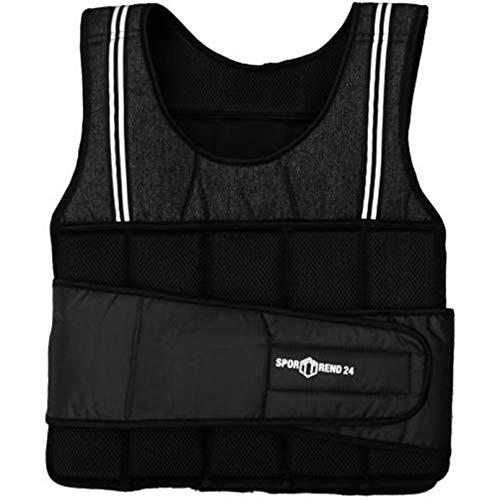 Sporttrend 24 | 10kg Gewichtsweste in schwarz | waschbare Trainingsweste Laufweste mit herausnehmbaren Gewichten