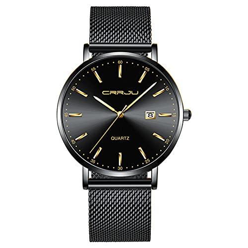 XIAN Reloj Ultrafino para Hombre, Reloj Deportivo de Cuarzo Resistente al Agua con Movimiento japonés a la Moda para Hombre, Reloj con Fecha para Hombre,C