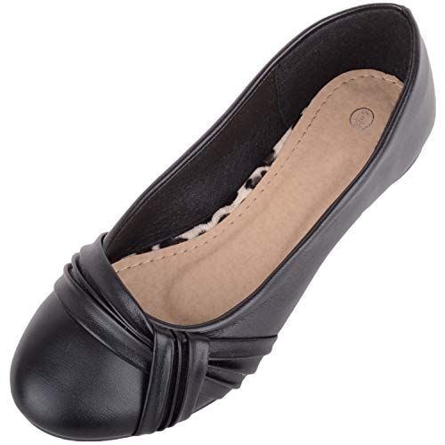 Womens Slip On Smart Casual Work Ballerina Style Pumps Dolly Shoes - Black - UK 6 / EU 39