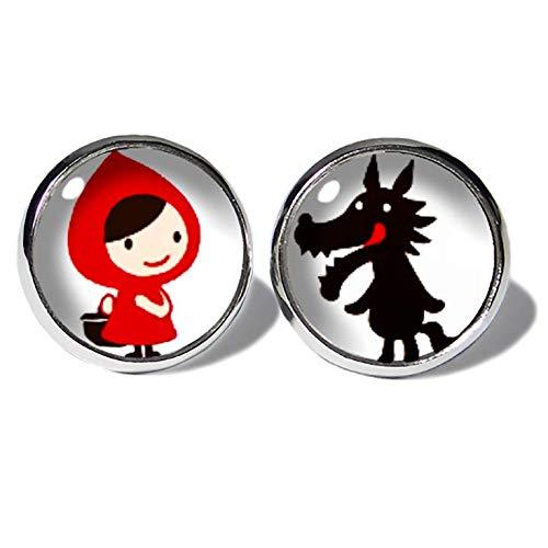 Rotkäppchen und der Wolf Ohrstecker ABOUKI Damen Mädchen Kinder Edelstahl Ohrschmuck Motiv Märchen Comic Kawaii handgefertigte Ohrringe silber-farben