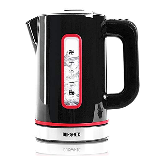 Duronic Electric Kettle EK30 BK | 3KW Variable Temperature Control | BLACK | 1.5L Fast Boil 3000W Eco Kettle | Keep Warm Function | Energy Efficient | Insulated Cool Touch | Cordless 360 Base