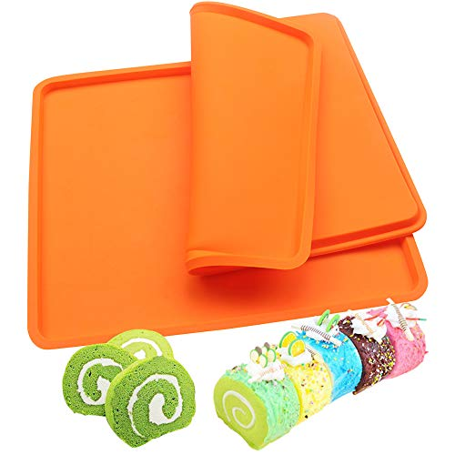 BAKER DEPOT 2 pcs Swiss Roll Cake Mat Pad Baking Mold Pastry Tools Silicone Nonstick Baking Rug Mat Silicone Mould