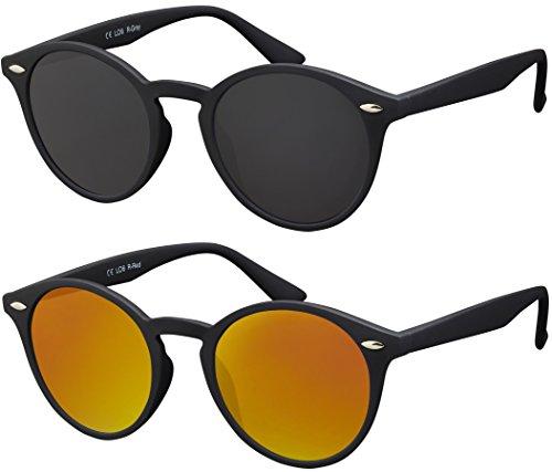 Sonnenbrille Herren Damen La Optica UV400 CAT 3 Retro Vintage Hippie Rund Round - Set Gummiert Schwarz (1 x Grau, 1 x Rot Verspiegelt)