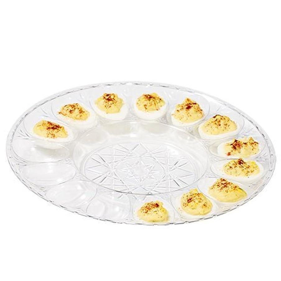 Deviled Egg Clear Plastic Crystal Cut Platter - Set of 2
