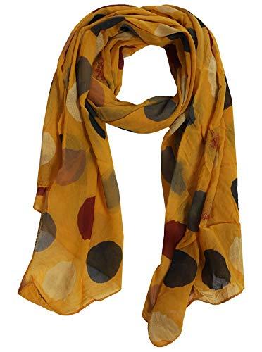 Zwillingsherz Seidentuch Halstuch Schal aus Seide und Baumwolle für Damen Mädchen Kinder - Hochwertiges Tuch Schultertuch im bunte Punkte Design - Perfekt für Frühjahr Sommer Herbst Winter - gelb