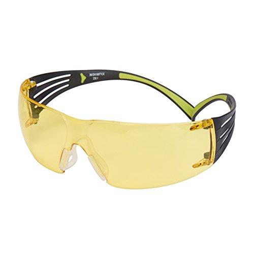 3M SF403AF Schutzbrille SecureFit, Gelb, Rahmen Schwarz/Grün