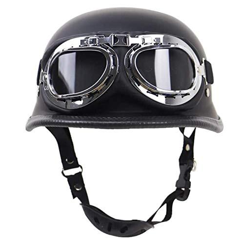 HYRGLIZI Medio Casco,Casco Jet Vintage de Moto Medio Casco Unisex Estilo Retro Utilizado con Visera,con Gafas,For Proteger La Cabeza Dot Homologado