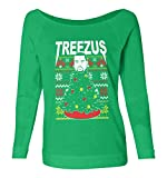 Haase Unlimited Treezus - Kanye Tree Ugly Christmas Ladies French Terry Sweater (Envy Green, X-Large)