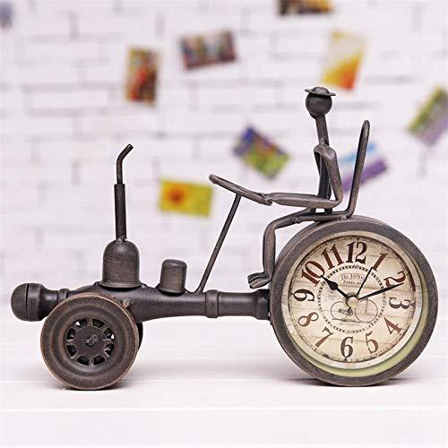 Reloj de Mesa con Modelo de Tractor de Metal Vintage Creativo, vehículo de Hierro Forjado Decorativo, Arte de Escritorio en Miniatura y Adorno Artesanal