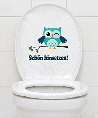 WC Aufkleber - Schön hinsetzen! - Eule Toilettendeckel A075