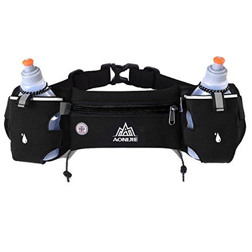 TRIWONDER Reflectante Cintura Paquete Fanny Bag con Puerto para Auriculares, Running Belt Pouch Travel Bolsillo Hombro Bolsa para Hombres y Mujeres (Negro - con 2 Botellas de Agua)