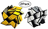 Mirror Speed Cube Set 2 Pack of Gold and Silver 3x3 Windmirror Wheel Cube Twisty Skewb Magic Cube Bundle Puzzle for Kids Adults