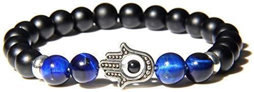 PRTOYO Pulsera de Piedra Mujer, 7 Chakra Natural Azul Marino Azul Tigre Ojo de Piedra Brazalete obsidiana Brazalete elástico Plateado joyería Suerte para Hombres Damas