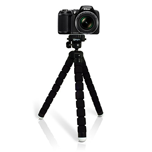 iGadgitz U4893 Large Universal Flexible Foam Mini Tripod Compatible with Nikon D Series SLR and DSLR Cameras - Black