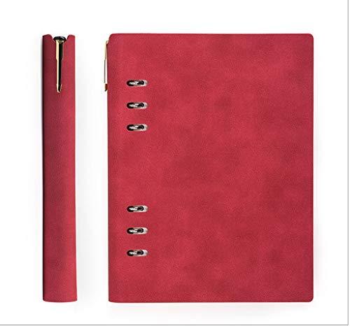 ZRJ Pequeño Cuaderno Diario de Escritura en Cuero Escritura Personal Recargable for Hombres y Mujeres, viajeros, escritores, poetas, como un Diario o planificador de Vida Regalos (Color : Red)