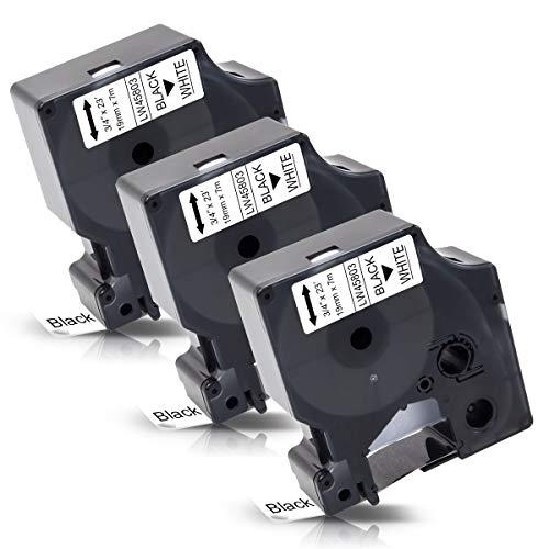 3x Labelwell 19mm x 7m Sostituzione Nastro per Etichette Compatibile per Dymo D1 45803 S0720830 Nero su Bianco per Dymo LabelManager 360D 420P 450D 500TS MobileLabeler PNP Wireless LabelWriter 450 DUO