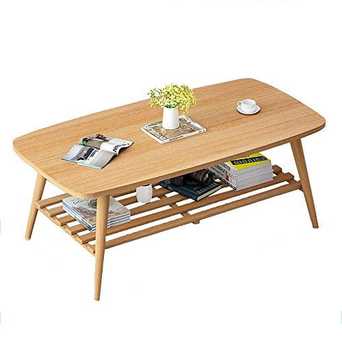 HAIZHEN Tables basses Table basse en bois massif, table d'appoint carrée à 2 niveaux Table de rangement de grande taille pour le salon (Couleur : A)