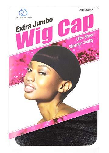 DREAM Deluxe Wig Cap Jumbo Black 2 pc (Model: 060), Spandex cap, Wig cap, Mesh cap, Snood, Hair net, Fish net by Dream