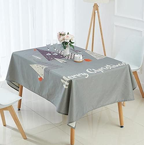 Mantel de Lino Rectangular Simple con Mantel Impreso de Navidad Digital Decoración navideña 140x220cm A