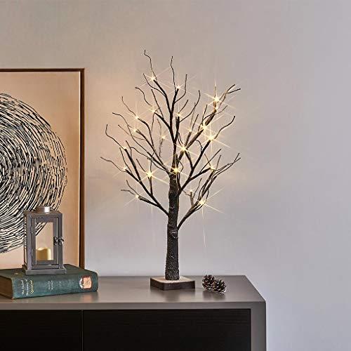EAMBRITE LED Lichterbaum 60CM Lichterzweige 24 LEDs Leuchtzweige innen Schneebaum Batteriebetrieb Innendekoration Warmweiß für Weihnachten,Ostern, Hochzeit Geburtstag