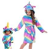 Soft Unicorn Hooded Bathrobe Sleepwear for Matching Doll & Girls (Rainbow Galaxy, 5-6 Years)