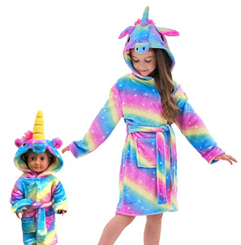 Soft Unicorn Hooded Bathrobe Sleepwear for Matching Doll & Girls (Rainbow Galaxy, 6-7 Years)